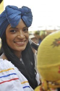 Eine Musikerin auf dem Petronio-Álvarez-Festival in Cali, August 2016